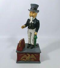 Uncle Sam Vintage Cast Iron Mechanical Money Box Hand Painted Piggy Bank