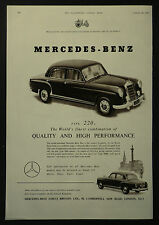 Mercedes Benz Type 220a 1954 1 Page Advert Advertising