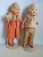 "Vintage painted 6"" Bisque Dollhouse Dolls Boy & Girl 1930's Marked Japan Jointed"