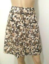 ANN TAYLOR Petite Skirt Brown Multicolor Paisley Sz 4P Above Knee Zipper Cotton