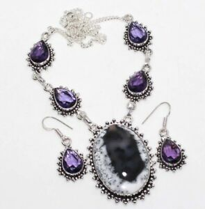 Dendritic Opal Amethyst 925 Sterling Silver Plated Necklace Earrings Set GW
