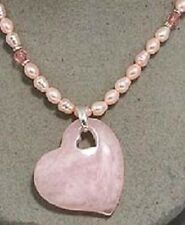 Heart Love Pink Faux Pearls Beads Beautiful Unique Such A Pretty Necklace #189-B