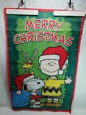 Peanuts Christmas Garden Flag Charlie Brown Santa Snoopy Woodstock 38inx24in