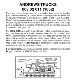 Micro-Trains 00325011 - Andrews Trucks With Short Extension Couplers - Brown ...