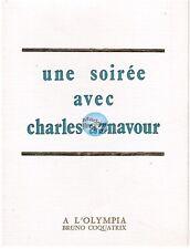 CHARLES AZNAVOUR CARTON D'INVITATION A L'OLYMPIA 19 JANVIER 1971 (vierge)