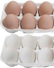 Faux Ceramic Chicken Eggs 6 White/6 Brown 1 dozen Dummy Nesting Craft Prop Egg