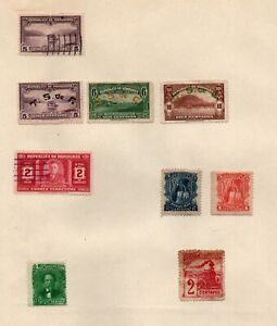 Honduras selection of 9 on page from a old European collection.