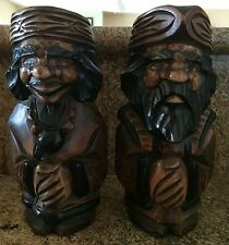 """Vintage Wood Carved Bearded Man & Woman Sculpture approx. 9 1/2"""" tall"""