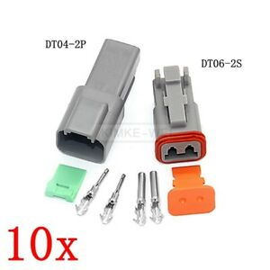 10x Deutsch DT04-2P/DT06-2S DT Series Sealed Waterproof Connector Plug Kits New