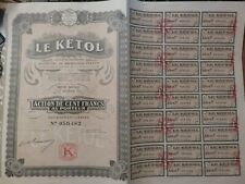 Scripophily 1926 France Share Certificate 100 Francs with 30 coupons uncancelled