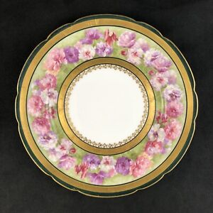 """🟩 Jean Pouyat JPL Limoges France Pink Floral Green Gold 8 1/2"""" Luncheon Plate"""