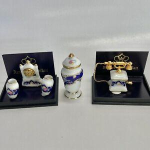 Reutter Porcelain Miniature Dollhouse Clock Set, Vase Urn, Telephone 1:12 Scale