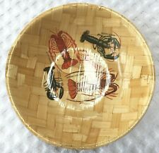 """Southern Rock Lobster Woven Bamboo Look 7 7/8"""" Bowl Souvenir Spiny Red Banded"""