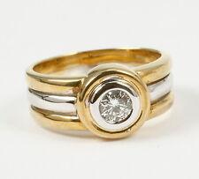 Massiver, klassischer Ring, Brillant 0,36 Carat, feines Weiß, si, 585 Gold