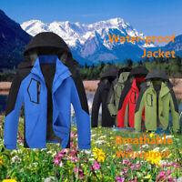 2000-3000mm Mens Waterproof Zip off Rain Jacket Outdoor Camping Hiking Coat UK