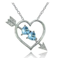 Sterling Silver Blue and White Topaz Heart & Arrow Necklace