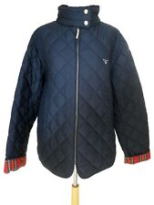 GANT Navy Blue Quilted Zip Up Jacket Coat Red Tartan Lining XXL 18