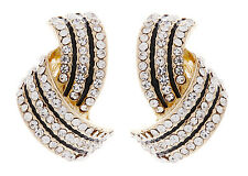 CLIP ON EARRINGS - gold earring with clear crystals & black enamel - Camila
