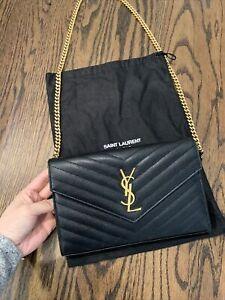 Ysl Saint Laurent Paris Black Gold Wallet On Chain Purse Bag Authentic GHW
