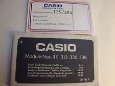 VINTAGE CASIO MODULE NOS.311 313 336 338 GUIDA PER L'USO/CERTIFICATO GARANZIA