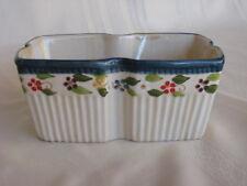 Temp-Tations By Tara Blue Old World Ovenware Loaf Pan 7x5 Floral Pattern Petals
