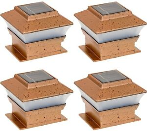 """4x4 Solar Powered LED Post Cap Light Mount Outdoor Copper 4""""-inch, Set of 4 Pack"""