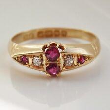 Stunning Antique Edwardian 18ct Gold Ruby & Diamond Ring c1912; UK Size 'Q 1/2'