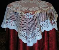 "SMALL SQUARE WHITE TRADITIONAL LACE TABLE CLOTH WITH SCALLOPED EDGE 36""X 36"""