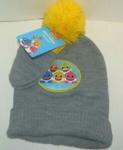 New Todder Boys Girls Baby Shark Gray Knit Hat & Mittens Set Yellow Pompom 2T-5T