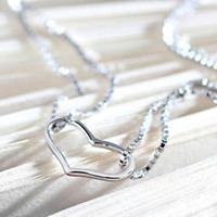 925 Silver Plated Women LOVE Heart Charm Pendant Chain Bracelet Brangle Jewelry