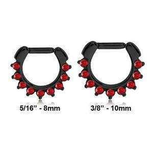Black Surgical Steel Septum Clicker Hinged Nose Ring Hoop Red CZ 14G 16G