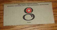 Original 1978 Pontiac Sunbird Owners Operators Manual 78