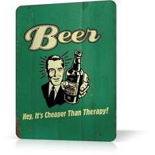 Metal Tin Sign Beer Cheaper Than Therapy Retro Vintage Funny Decor Home Poster