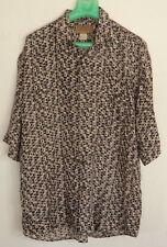 UTOPIA Mens 100% Silk Abstract Pattern Button-Down Short Sleeve Shirt Size M