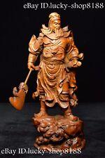 "10""China Tibet Buddhism Boxwood Loyalty Hegemon Guan Gong Yu Warrior God Statue"