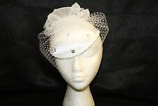 Women's White Satin Pillbox Dress Hat With Rhinestones and Veil