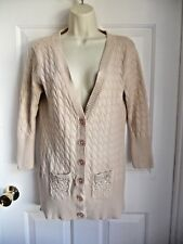 Day Trip Sweater Cardigan M L 100% Cotton Cable Knit Embelished Pockets Cream