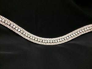 CLEAR CRYSTAL 5 ROW BROWBAND BLING DIAMANTÉ DRESSAGE FULL COB PONY BLACK BROWN