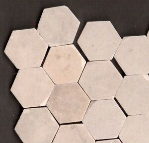 250 PIECES WHITE MOSAIC ANTIQUE ORIGINAL PERIOD STONEWARE FLOOR TILES RECLAIMED