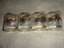 VINTAGE SET OF 4 GMC AC DELCO GOLD-RIMMED PROMOTIONAL ANTIQUE CAR GLASSWARE