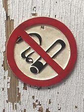 """CAST IRON """"NO SMOKING"""" SIGN, 6 INCH ROUND ~ Restaurant office bar"""