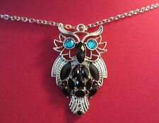 34 inch  Silver Necklace With Silver Owl Black Stones and TeaL Eyes