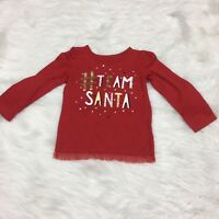Okie Dokie Girls T-Shirt Size 4T # Team Santa Red Gold Christmas Long Sleeve
