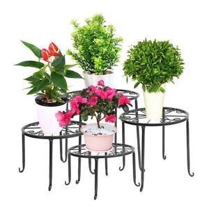 Garden Metal Plant Pot Stand Holder Indoor Outdoor Set Of 4 Flower Rack Display