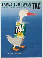 Affiche Originale - Paul Colin - Lavez tout avec Tac - Lessive - Canard - 1960