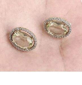 Antique Vintage 925 Silver Light Green Citrine and Topaz Earrings