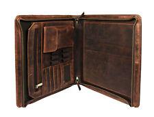 Vintage Leather Portfolio Padfolio A4 Letter File Folder Organizer Planner