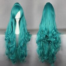 100cm karneval-IVA Cosplay Curly Style Fashion Ladies Green Cosplay Wig Ponytail