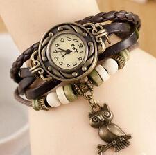 Reloj Pulsera Reino Unido señoras Mirada de Cuero Encanto Animal Búho Vintage Marrón 8021