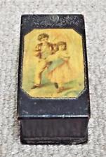 I bambini-ANTIQUARIATO 1880 Nero mauchline Ware SCATOLA CON COPERCHIO SWING